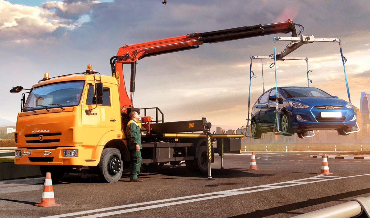 Эвакуатор 658625 0010-03 с КМУ Palfinger 13500T